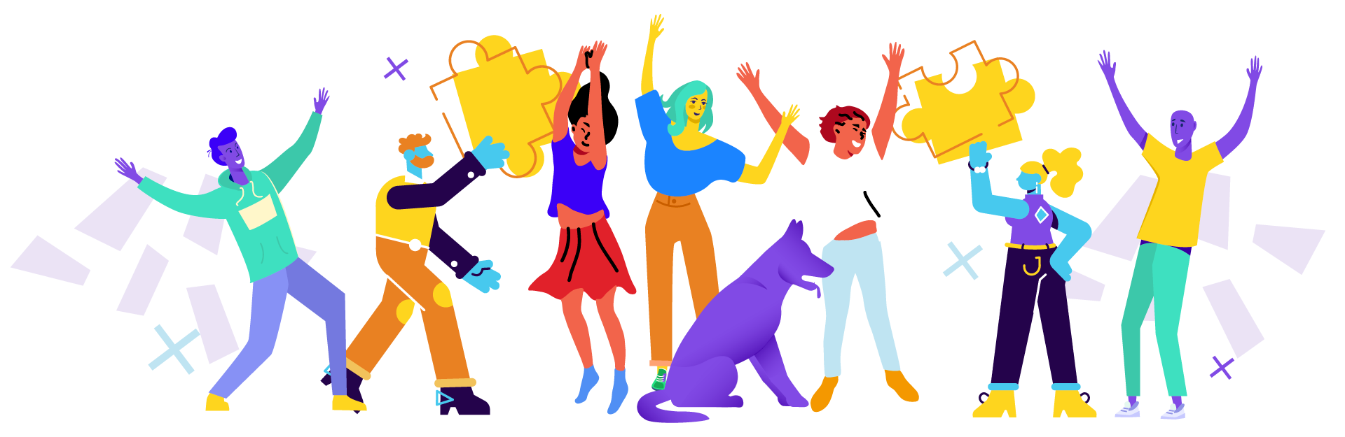 Ilustración de gente feliz